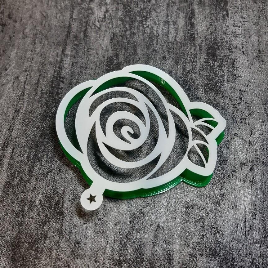 """Форма для пряника """"Роза №7"""" (9,5х8 см) с трафаретом"""