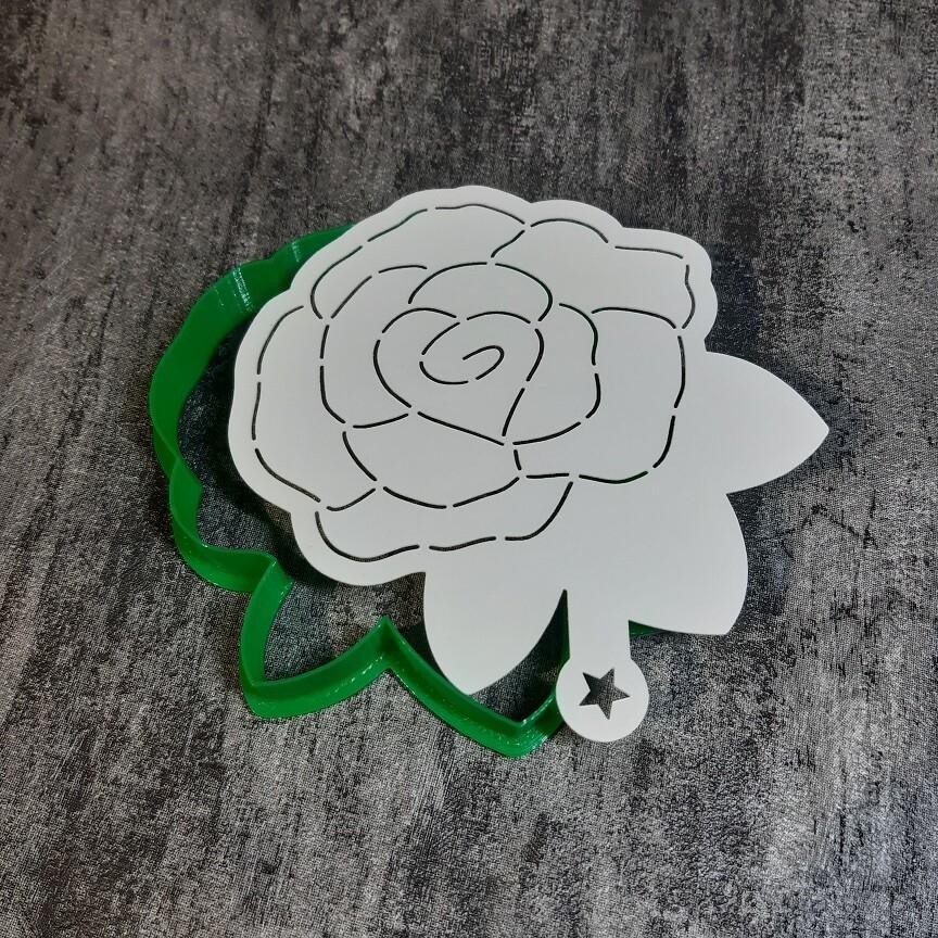 """Форма для пряника """"Роза №8"""" (9х10 см) с трафаретом"""