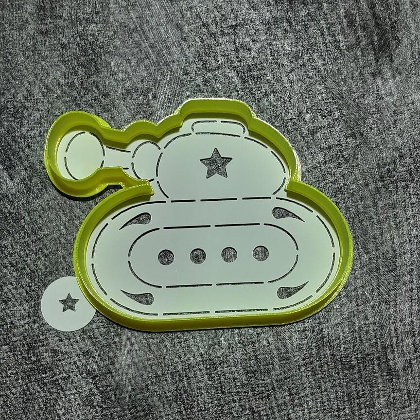 "Форма для пряника ""Танк №3"" (10х7,5 см) с трафаретом"