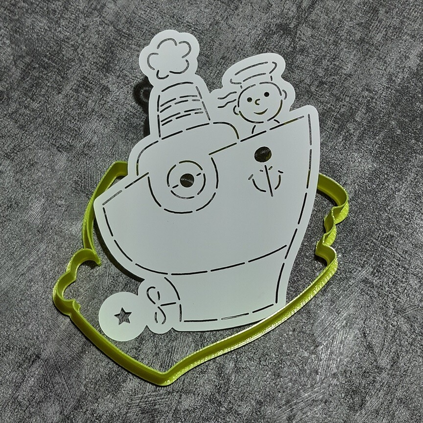 "Форма для пряников ""Кораблик №2"" (9х12 см) с трафаретом"