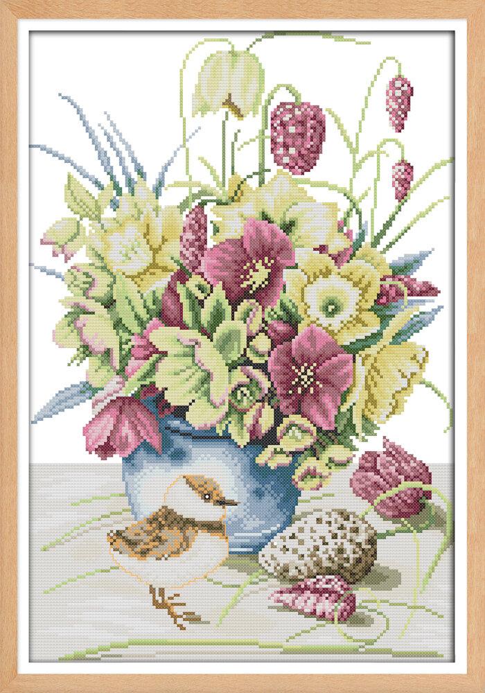Набор для вышивания H 749 Цветы и птичка 33х46