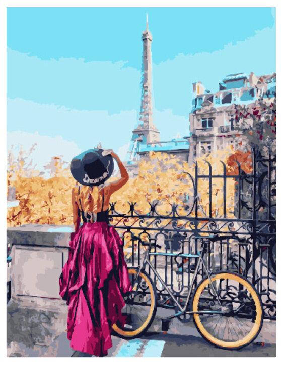 Картина по номерам PK 30072 Парижский велосипед 40*50