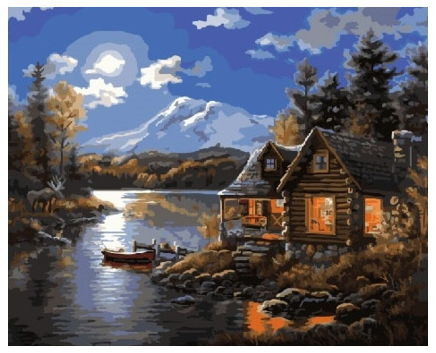 Картина по номерам GX 7618 Домик у реки 40*50