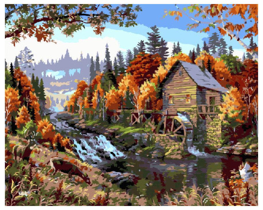 Картина по номерам GX 7495 Водяная мельница у реки 40*50