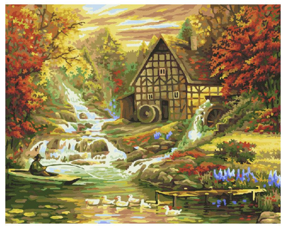 Картина по номерам GX 7611 Домик у горного ручья 40*50