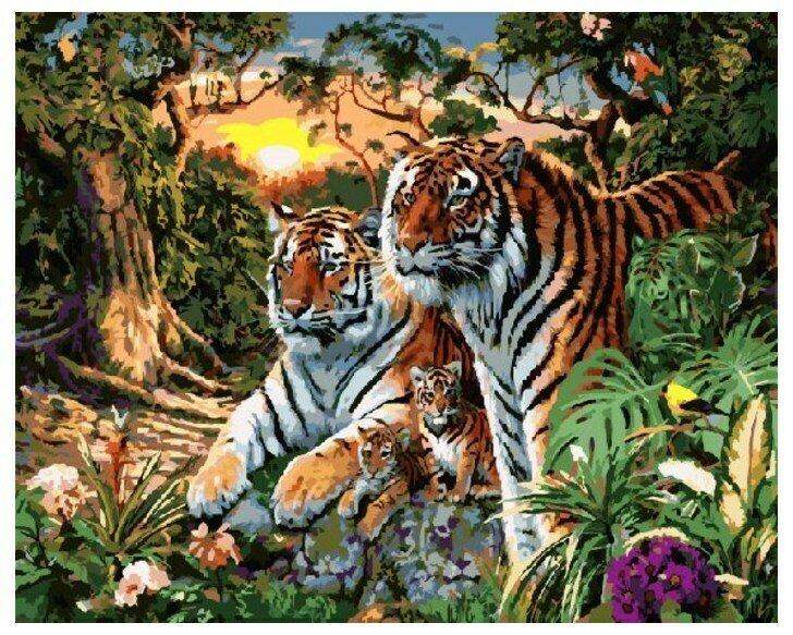 Картина по номерам GX 7861 Семейство тигров 40*50