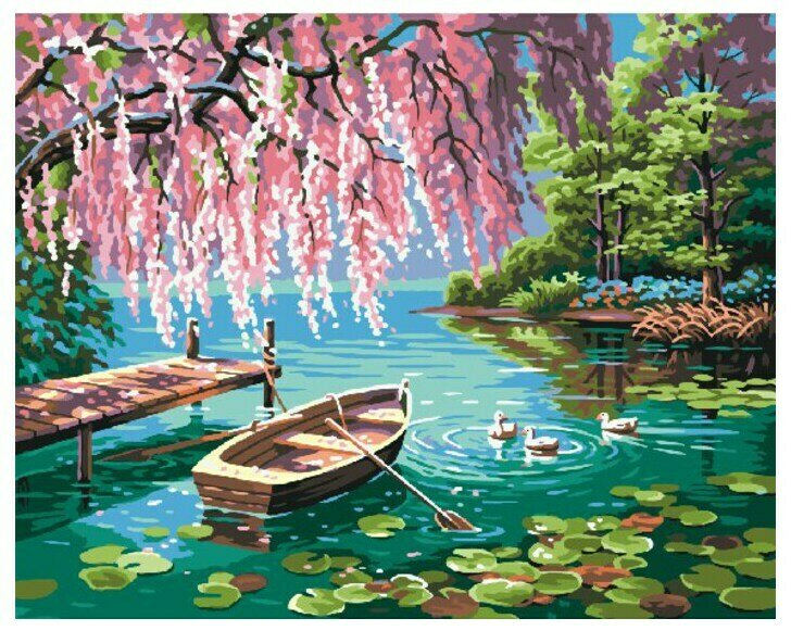 Картина по номерам Paintboy Original Уточки и лодочка 40х50