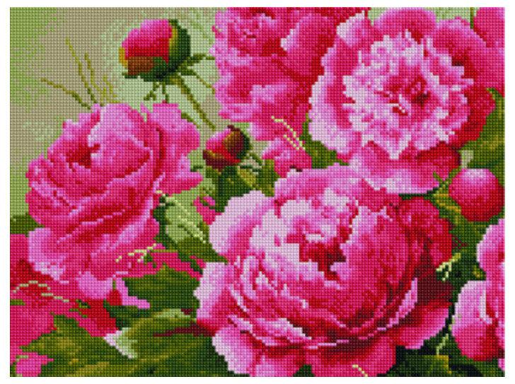"""Алмазная мозаика Paintboy Original""""Розовые пионы"""" 30х40"""