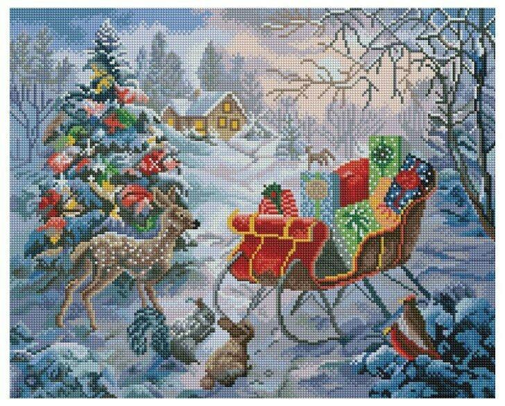 Алмазная мозаика GF 866 Сани Дедушки Мороза 40*50