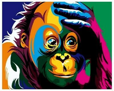 Картина по номерам GX 3964 Радужная шимпанзе 40*50
