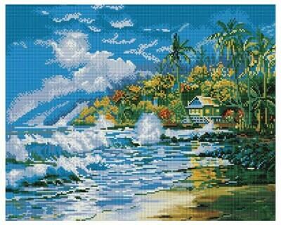Алмазная мозаика GF 447 Море и пальмы 40*50
