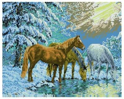 Алмазная мозаика GF 089 Зимний водопой 40*50