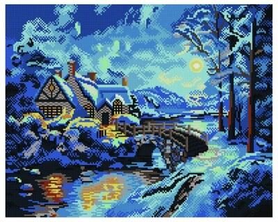 Алмазная мозаика GF 301 Зимняя полночь 40*50
