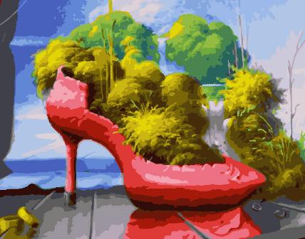 Картина по номерам GX 30742 Клумба в туфле 40*50