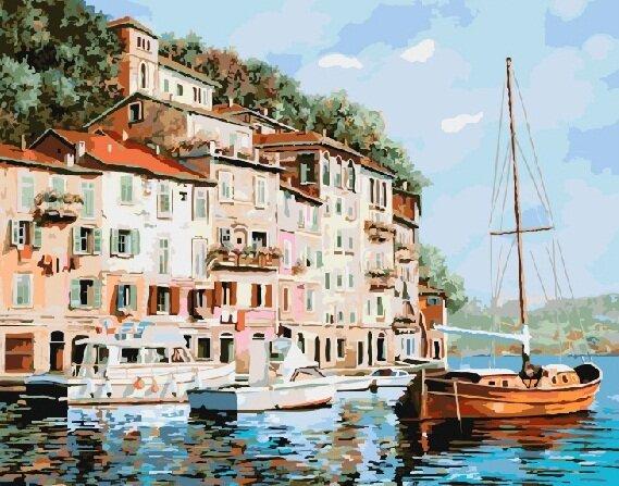 Картина по номерам GX 8204 Красная лодка 40*50