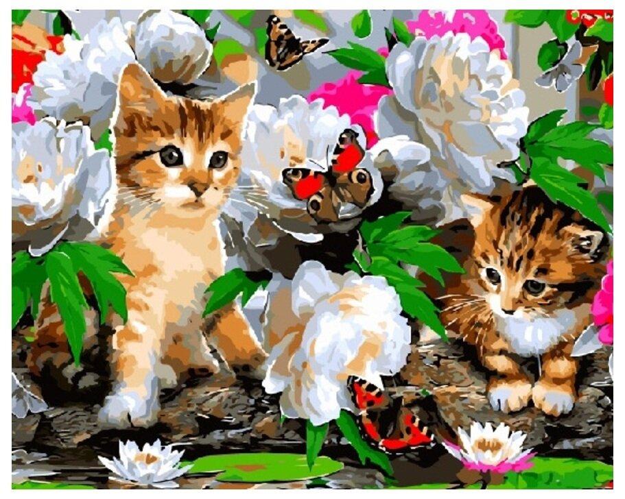Картина по номерам GX 8285 Котики в цветах 40*50