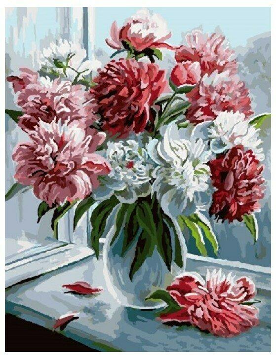 Картина по номерам GX 9084 Пионы на окне 40*50