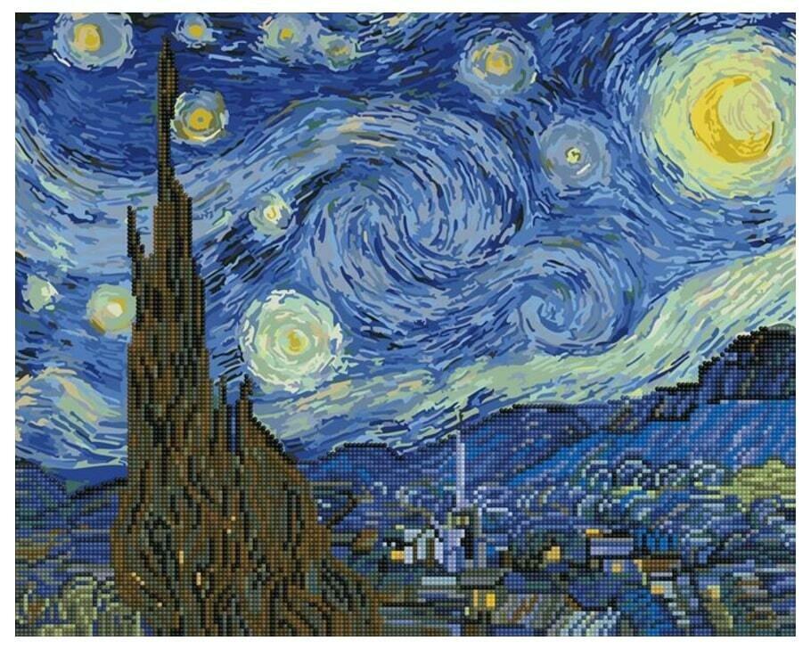 Картина по номерам + мозаика GZS 1001 Звездная ночь 40*50