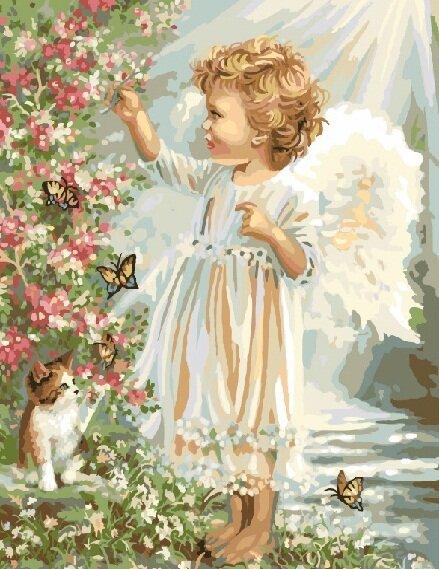 Картина по номерам GX 9091 Ангел с котенком 40*50