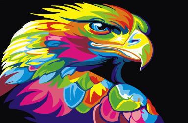 Картина по номерам CX 3644 Радужный орел 20*30