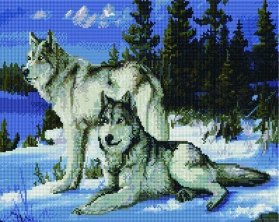 Алмазная мозаика GF 505 Зимние волки 40*50