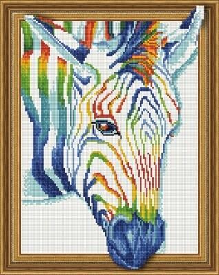 Алмазная мозаика 3D эффект TSGJ 1125 Красочная зебра 40*50