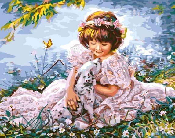 Картина по номерам GX 8553 Девочка с далматинцем 40*50