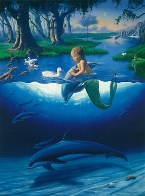 Картина по номерам 40х50 - Маленький русал с дельфинами