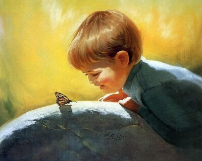 Картина по номерам 40х50 - Мальчик и бабочка