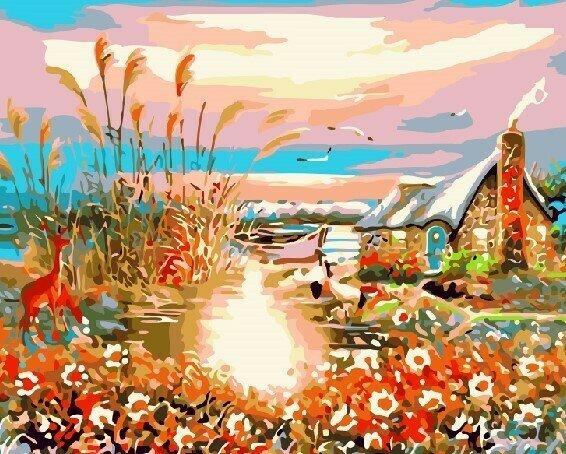 Картина по номерам 40х50 - Домик у пруда