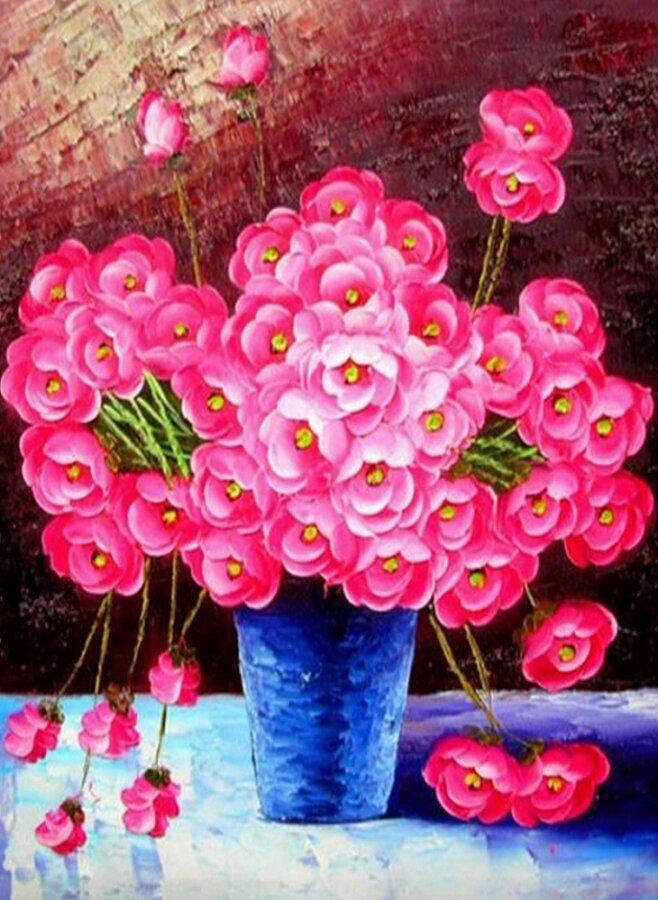 Картина по номерам 40х50 - Розовые цветы