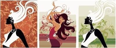 Картина по номерам, триптих 40x50 см - Индийская девушка