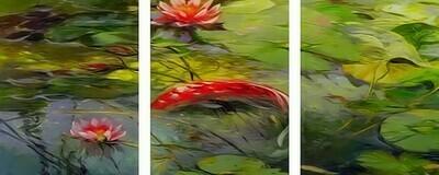 Картина по номерам, триптих 40x50 см - Рыбка и лотосы