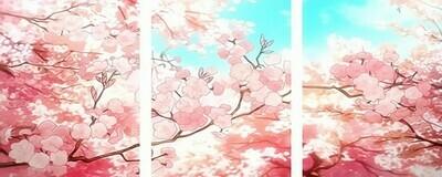 Картина по номерам, триптих 40x50 см - Цветение вишни