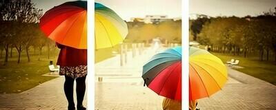 Картина по номерам, триптих 40x50 см - Цветные зонтики
