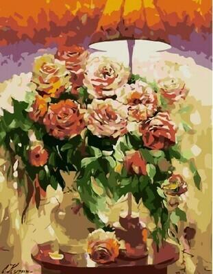 Картина по номерам 40х50 - Розы на столике