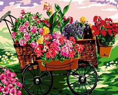 Картина по номерам 40х50 - Цветочная тележка