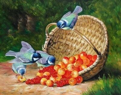 Картина по номерам 40х50 - Птички и ягоды