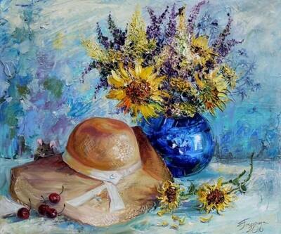 Картина по номерам 40х50 - Шляпка и цветы