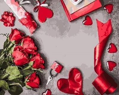 Картина по номерам 40х50 - Атрибуты романтики