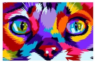 Картина по номерам, Paintboy Original, CX 4158 Радужная мордочка кота 20*30