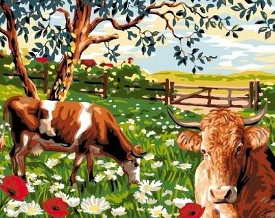 Живопись на холсте 40х50 см - Коровы в загоне