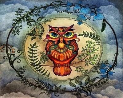 Живопись на холсте 40х50 см - Сова ловец снов