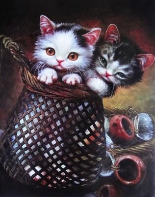 Живопись на холсте 40х50 см - Котята в корзинке