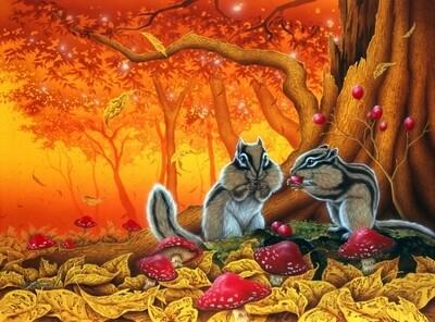 Живопись на холсте 40х50 см - Бурундуки осенью