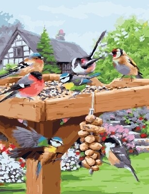 Живопись на холсте 40х50 см - Птички на кормушке