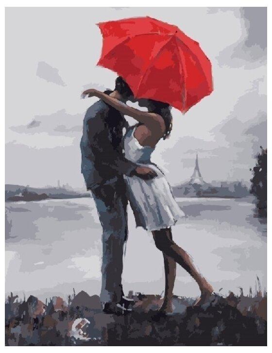 Картина по номерам GX 8605 Поцелуй под зонтом 40*50