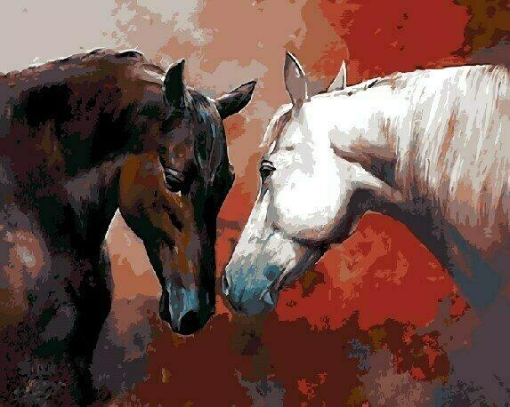 Картина по номерам GX 9159 Две лошади 40*50