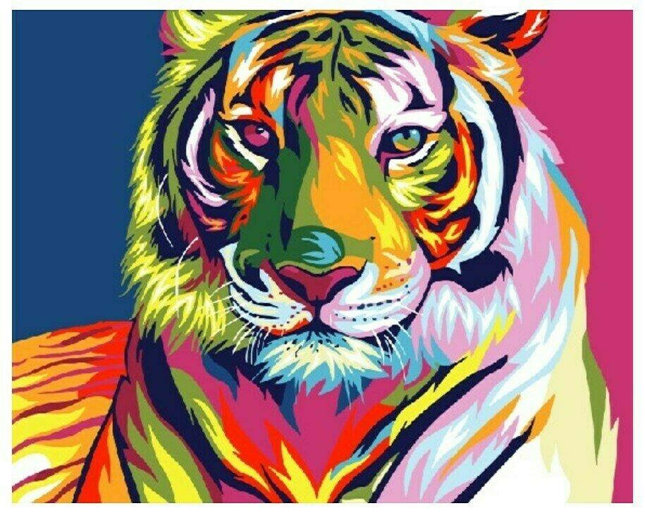 Картина по номерам GX 9203 Радужный тигр 40*50