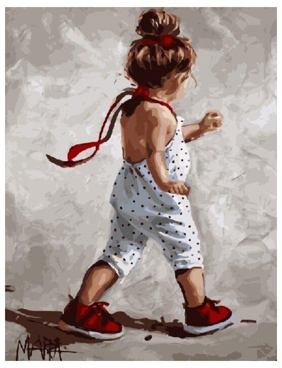 Картина по номерам GX 9243 Девочка в белом комбинезоне 40*50